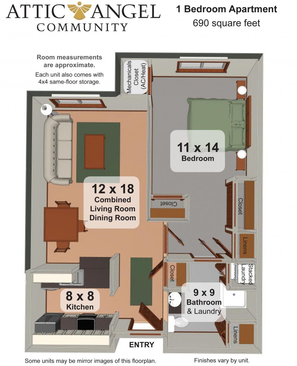 One Bedroom Apartment - Attic Angel Community